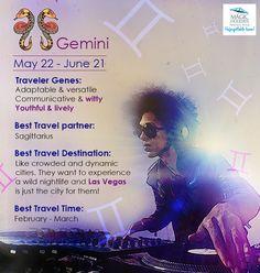 #Zodiac #Gemini is #fullon #fun & #PartyAnimal!  Here's the #Travel #Personality of #Gemini: