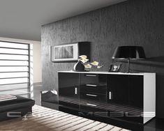 Latitude Run Beno Sideboard Color: White/Black Coastal Furniture, Shabby Chic Furniture, Living Room Furniture, Modern Furniture, White Sideboard, Wood Sideboard, Drop Leaf Table, Wood Vinyl, Komodo