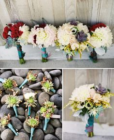 Succulent boutonnieres! I also like how the bridesmaid bouquets are slightly different.