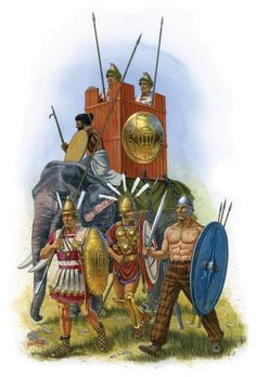 Pyrrhus' Epirote Army, in front from the left, Epirote phalangite, Italian (Samnite) ally legionary and a Celtic mercenary - by Johnny Shumate
