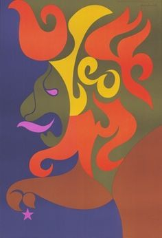 """Leo artwork form the Age of Aquarius. From www.coolhunting.com: """"With their offbeat colorways and swirling psychedelic imagery, it isn't any wonder that Paul Smith snatched up design duo Joe and Gerry Simboli's Zodiac posters and used them in his collections awhile back. Designed in the late '60s."""