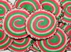 wpurp-searchable-recipeChristmas Pinwheel Cookies - Pretty red, white, and green, peppermint pinwheel sugar cookies rolled in Christmas sprinkles. - all-purpose flour, baking powder, salt, granulated