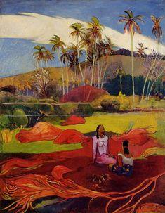 Tahitian women under the palms, 1892, Paul Gauguin Medium: oil on canvas