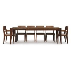 """The Kyoto Walnut Dining Table takes on a traditional Japanese design and fuses it with a Modern Western aesthetic. This centerpiece extension table incorporates smooth ball bearing extension glides and a single 24"""" self storing butterfly leaf for single handed open  close operation. Unlike most other extension tables, the extension leaf is at the end of the table rather thanin the center (demonstration video is on the 'Extension Operation' tab). Available in 2 sizes to seat up to 10 guests."""