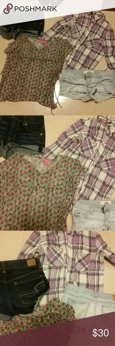 A lot of clothes for sale Aero flannel, Hollister short shorts, and American Eagle Hugh rise shorts.. betsey Johnson lace cherries top (for kids , but can fit an xs girl, or small girl if you don't mind the way it fits Tops Blouses