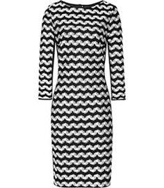 Womens Black/white Monochrome Stripe Dress - Reiss Jackie