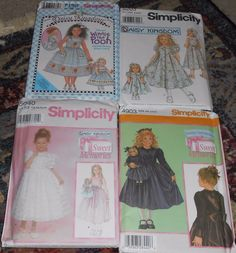 Lot 4 Simplicity Daisy Kingdom Girl & Doll Dress 4903 5040 5203 7199 Pooh Bear