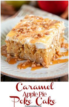 Caramel Apple Pie Poke Cake Caramel Apple Pie Poke Cake Recipe – apple cake soaked in caramel sauce topped with cool whip and toffee bits – AMAZING! Can make ahead of time and refrigerate. It gets better as it sits in the fridge. Apple Desserts, Köstliche Desserts, Apple Recipes, Delicious Desserts, Dessert Recipes, Desserts Caramel, Poke Cakes, Cupcake Cakes, Cupcakes