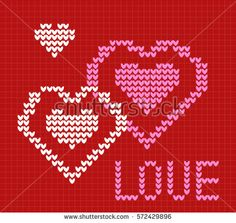 knit card Love. On red background of hearts. Postcard 2017 Valentines day. Vector knit pattern.