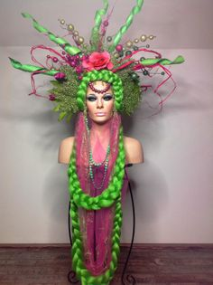 READY TO SHIP Magical Fairy Garden Floral goddess gypsy green and pink flower Floral bridal Fantasy headdress headpeice wig