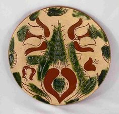 "2011 Breininger Redware 9"" Plate Glazed With Sgraffito Tulips and Heart Design"