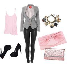 gray blazer w/pink