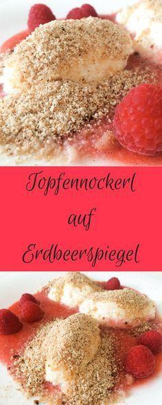 Ein einfaches Rezept für fluffige Topfennockerl auf Erdbeerspiegel