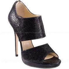 Jimmy Choo Private Cuff Glitter Fabric Sandals