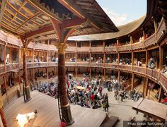 London. Globe Theatre. Erected in 1599, The Globe was London's first theater built by and for actors.