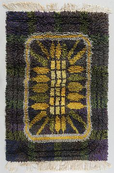Rya, 1900-talets tredje kvartal Rya Rug, Wool Rug, Shaggy Rug, Floor Rugs, Accent Pieces, Game Room, Rugs On Carpet, Mid Century, Pillows