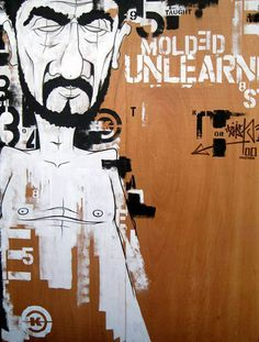 "Dave Kinsey 'Unlearn' 80x63"" inches, acrylic and enamel on wood 2000"