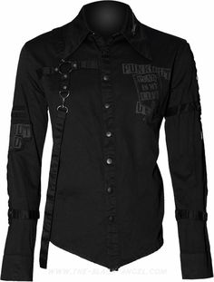 b392aa2c8750 Gothic button down shirt for men by Queen of Darkness clothing, with strap  detail and
