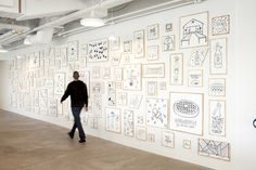 maybe a wall like this with framed wireframes...