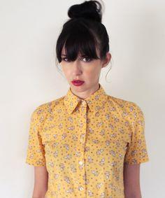 Fabriqués à la main de bouton chemise - personnalisé taille femmes chemise de travail, mod rétro d'inspiration manches courtes vintage