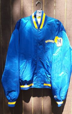 Vintage Milwaukee Brewers MLB Mens Size XL Satin 80s Blue Starter Jacket #Starter #MilwaukeeBrewers