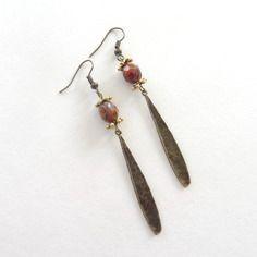 Boucles d'oreilles style ethnique bronze - doré -  marron marbré