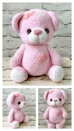 Crochet Teddy Bear Pattern, Crochet Animal Patterns, Crochet Patterns Amigurumi, Crochet Dolls, Crochet Teddy Bears, Kawaii Crochet, Free Crochet, Crochet Doll Tutorial, Beginner Crochet Projects