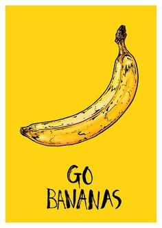 Go Bananas by Bristol based illustrator Tom Hovey. Banana Art, Go Bananas, Andy Warhol, Mellow Yellow, Illustration Art, Graphic Design, Drawings, Prints, Wallpapers