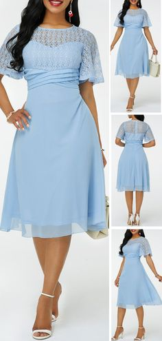 Featured with pure color will show this dress is casual and popular, Lace Panel Round Neck design make it unique with others. Short length will let your leg looks longer and make you slimmer. Long Plaid Skirt, Casual Dresses, Fashion Dresses, Spandex Dress, Trendy Clothes For Women, Plus Size Outfits, Dress Up, Bridesmaid Dresses, Neck Design