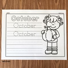 free October printable Kindergarten Workbooks, Kindergarten Teachers, Learning To Write, Early Learning, Teaching Calendar, Picture Writing Prompts, Holiday Activities, Months In A Year, Literacy Centers