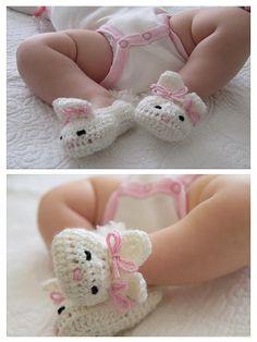adorable crocheted baby bunny booties crochet DIY  ༺✿ƬⱤღ  http://www.pinterest.com/teretegui/✿༻