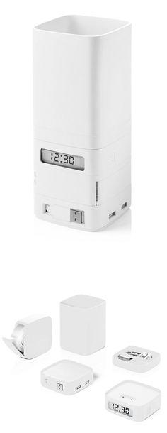 Minitotem Organiser White by Damian Evans // Totem desk organizer - includes clock and USB hub #productdesign