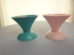 Vintage Mid Century Atomic Melamine Ice Cream Dishes, by theoldmilkbarn