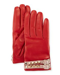 Leather+Rockstud+Gloves,+Red+by+Valentino+at+Neiman+Marcus.