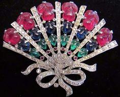Vintage Trifari Rhinestone Brooch Pin Fruit Salad FAN Figural Rhinestone Glass #Trifari