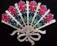 Vintage Trifari Rhinestone Fruit Salad FAN Figural Rhinestone Pin Brooch Glass #Trifari