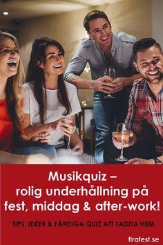 Ett musikquiz är ofta den optimala underhållningen till en fest eller middag. Musik i sig engagerar och sätter också stämningen på festen, och musik gör en frågesport lättsam och underhållande! #musikquiz #frågesport #quiz #festlekar #festtips #vuxna