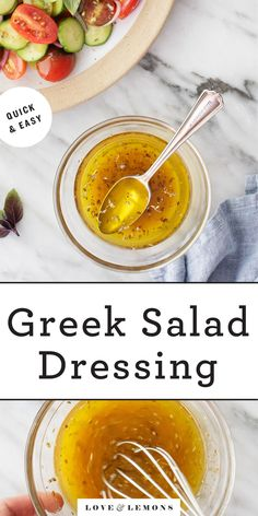 Everyone should have this easy Greek salad dressing recipe in their back pocket. Zingy, tangy, and bright, it's delicious on salads, roasted veggies, and more! It's also perfect for meal prep - it keeps for 5 days in the fridge! | Love and Lemons #dressing #mealprep #greekdressing #salad