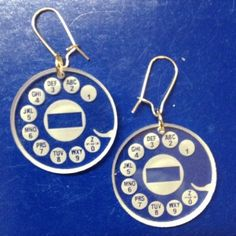 Laser engraved rotary phone earrings | Book Worm Laser & Design
