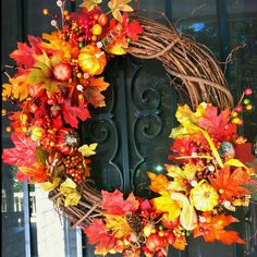 Fall wreath I made for my front door