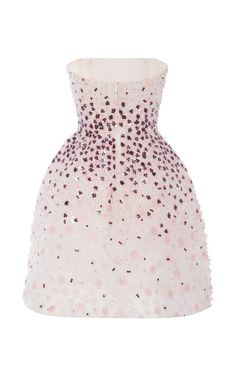 Pink Multi Flower Embroidered Strapless Dress by Monique Lhuillier for Preorder on Moda Operandi