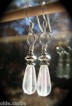 買 Olde Castle Arts ~ Rustic Saucer Topped Teardrop Earrings Clear Rainbow Glass