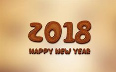 Download wallpapers Happy New Year 2018, cookie, art, New Year 2018, creative, Christmas