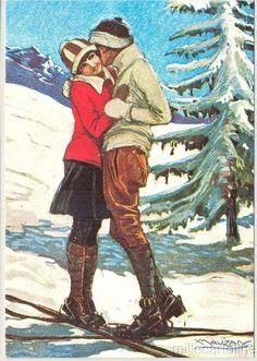 ° Mauzan - 1983 centenario nascita, Ed. Vintage Christmas Images, Retro Christmas, Vintage Greeting Cards, Vintage Postcards, Vintage Ski Posters, Vintage Couples, Vintage Romance, Vintage Kiss, Vintage Winter