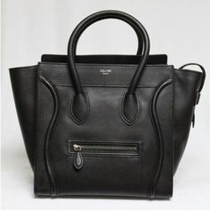 CELINE Celine Black Pebbled Leather Mini Luggage Tote Bag. Sold Out in Stores $3,898