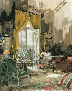 Interior design illustration by Jeremiah (b. 1922), 2005, Claude Guidi Buenos Aires Living Room.