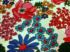 Vintage 1960s Floral Fabric Mod Flower Power by FabricTreasures4U, $18.50