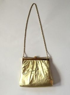 HARRY LEVINE HL USA Vintage Retro Gold Evening Bag Handbag Purse Clutch with Chain | eBay