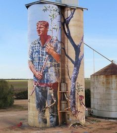 """Street Art by Fintan Magee Found in Patchewollock Australia 🇦🇺 3d Street Art, Murals Street Art, Street Art Graffiti, Mural Art, Street Artists, Cool Pictures To Draw, Art Optical, Farm Art, Building Art"