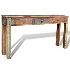 Reclaimed Console Table Shabby Chic Cabinet 3 Storage Drawers Wooden Side Table